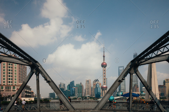 August 6, 2014: Pearl Tower and Pudong District in Shanghai, China
