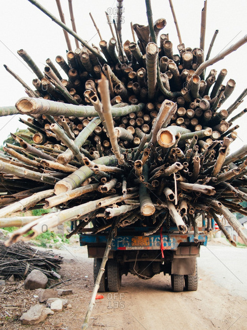 May 14, 2011: Truck loaded with bamboo