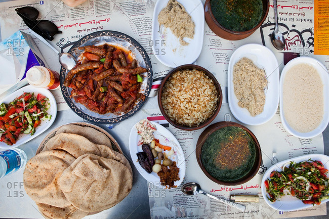 Cairo, Egypt - June 7, 2014: Overhead view of meal served at Kebdet El Prince restaurant