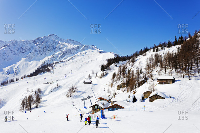 Italian Alps, Italy - March 12, 2016: Courmayeur ski resort, Aosta Valley, Italian Alps, Italy, Europe