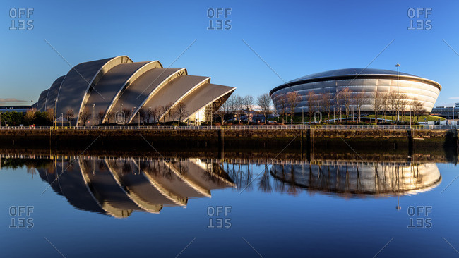 Scotland, United Kingdom - February 14, 2016: Armadillo and Hydro, Pacific Quay, Glasgow, Scotland, United Kingdom, Europe