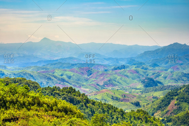 Rolling hills and mountains, lush rural landscape, Vientiane Province, Laos, Indochina, Southeast Asia, Asia