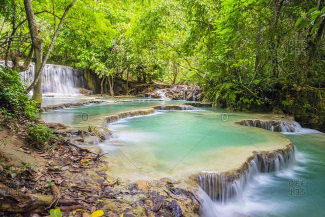 Kuang Si Falls (Tat Kuang Si) Waterfall, Louangphabang Province, Laos, Indochina, Southeast Asia, Asia