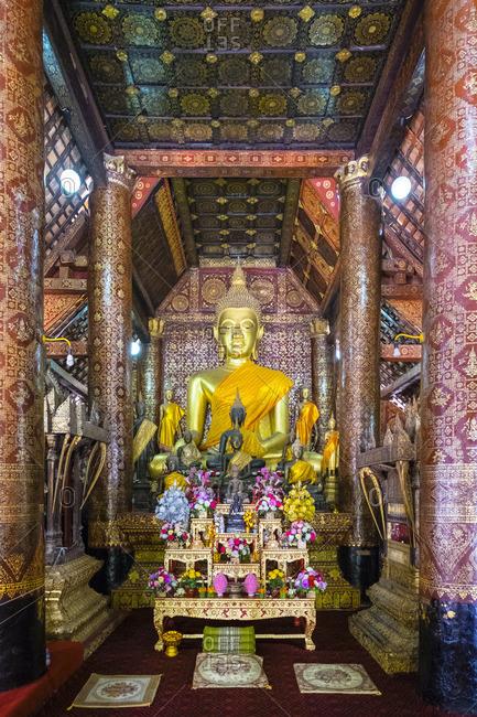 Main altar, interior of Wat Xieng Thong Buddhist temple, UNESCO World Heritage Site, Luang Prabang, Louangphabang Province, Laos, Indochina, Southeast Asia, Asia