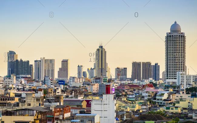 Bangkok, Thailand - April 27, 2016: Bangkok skyline seen from the Golden Mount (Wat Saket), Bangkok, Thailand, Southeast Asia, Asia