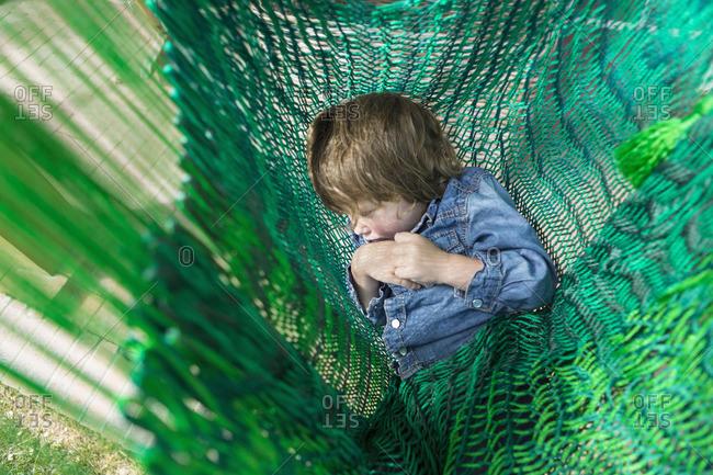 Little boy napping in a hammock