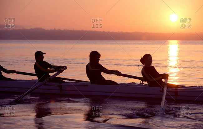 Four people rowing at sunset