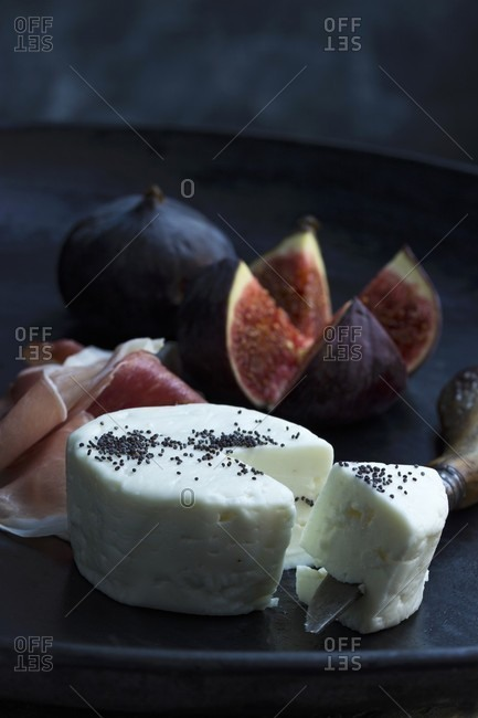 Goat's cheese, Parma ham and fresh figs as an appetizer
