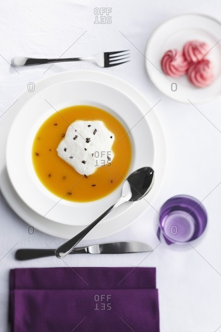 Mango cream with whipped cream