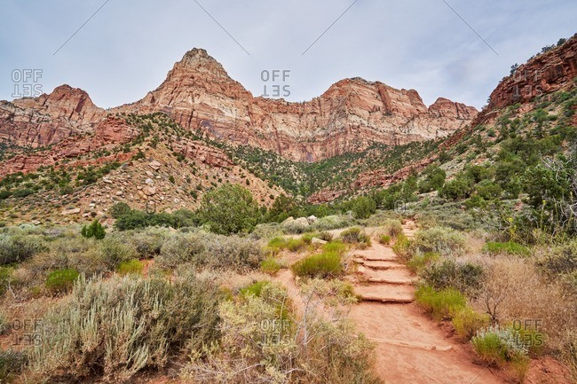 Narrow hiking trail in Zion National Park, Utah