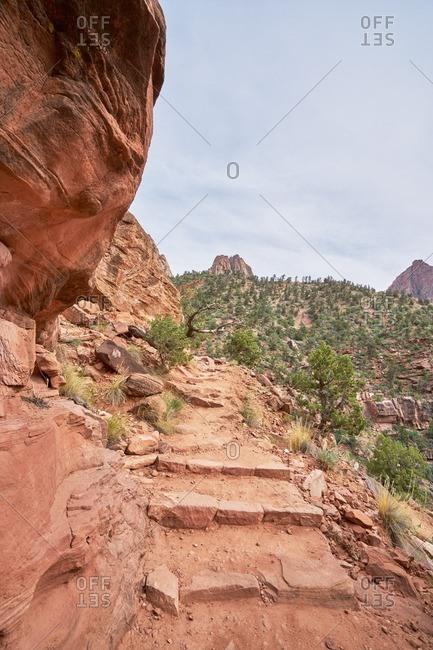 Trail along a cliffside in Zion National Park, Utah