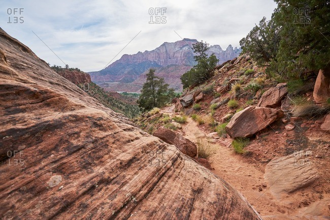 Overhead view of a path along a cliffside in Zion National Park, Utah