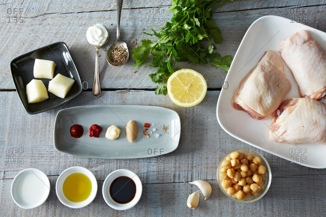 Ingredients for marinated chicken