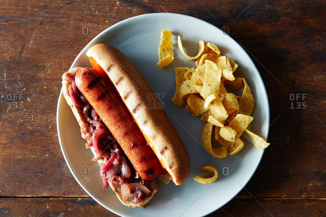Hot dogs with corn chips