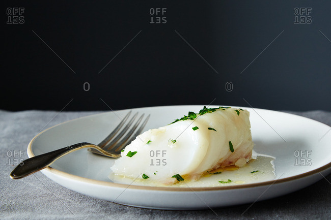 Baked fish pieces on plate