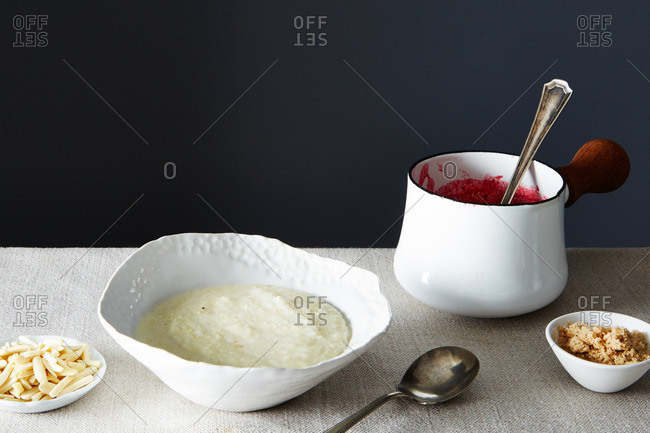 Grits with raspberry compote