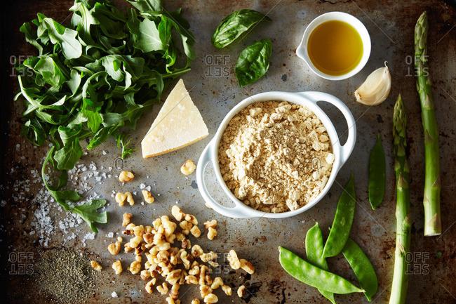 Assembled ingredients on pan