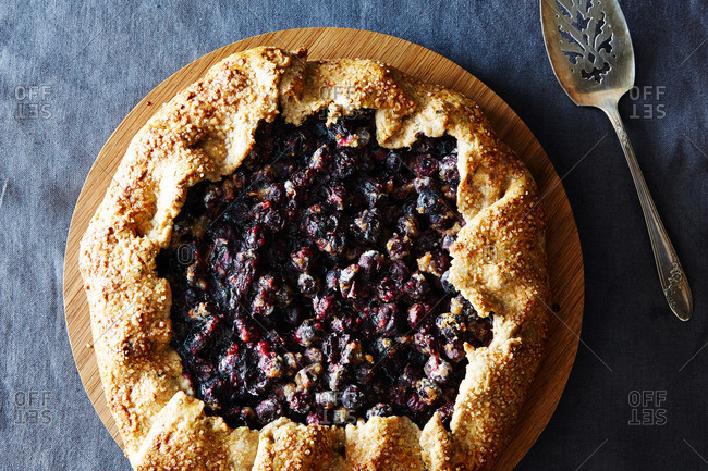 A blueberry galette dessert