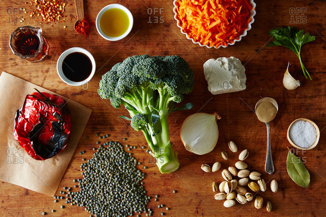 Broccoli and lentil salad ingredients