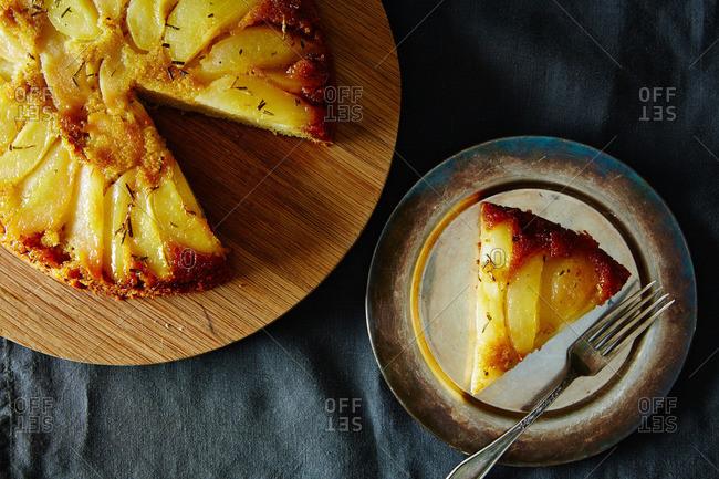Rosemary pear polenta cake