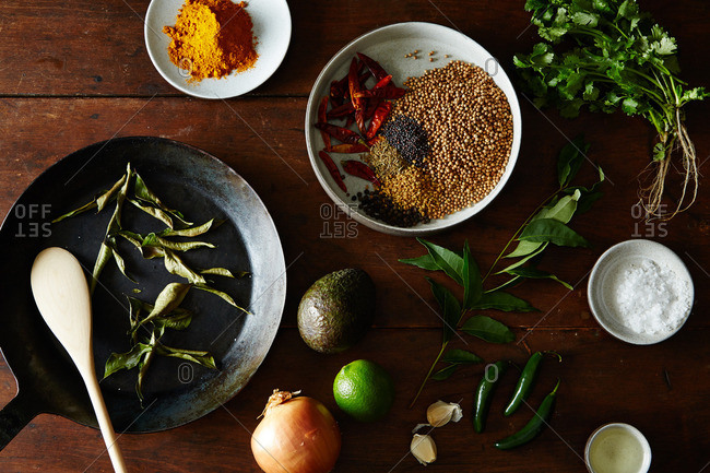 Various ingredients and curry powder