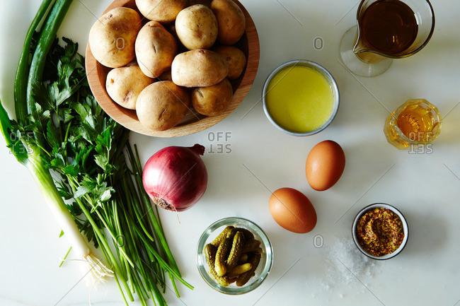 Raw ingredients for potato salad