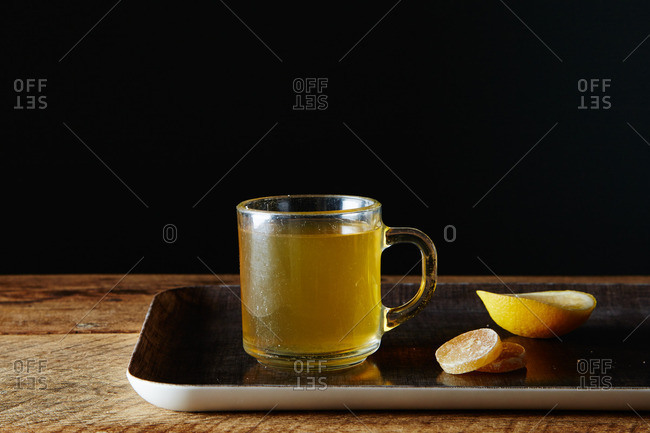 Hot toddy drink on tray