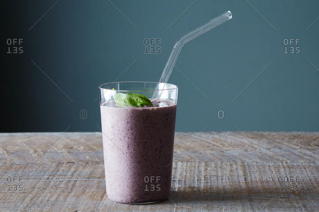 A purple smoothie drink