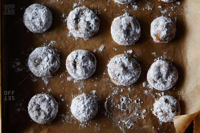 Spice cookies on parchment