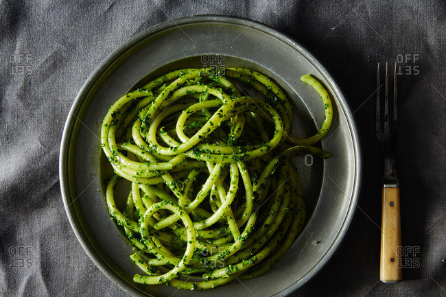Pasta with winter greens pesto