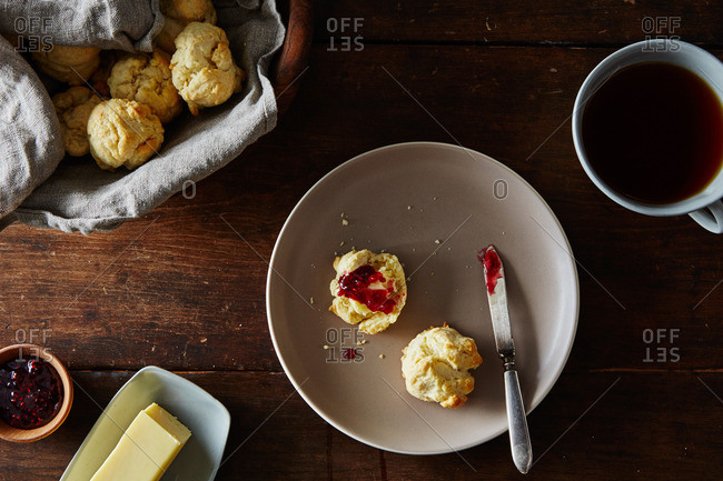 Biscuits with butter and jelly
