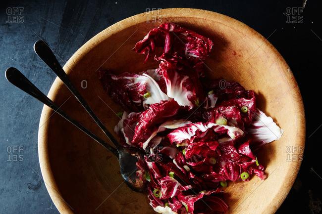 A radicchio salad in wood bowl