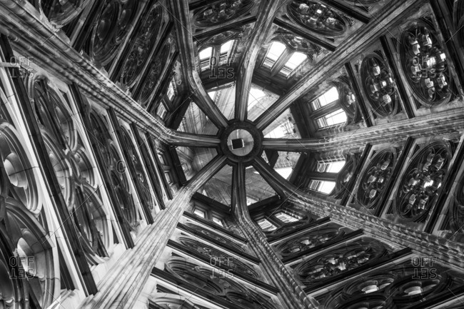 Interior of a cathedral spire in Cologne, Germany