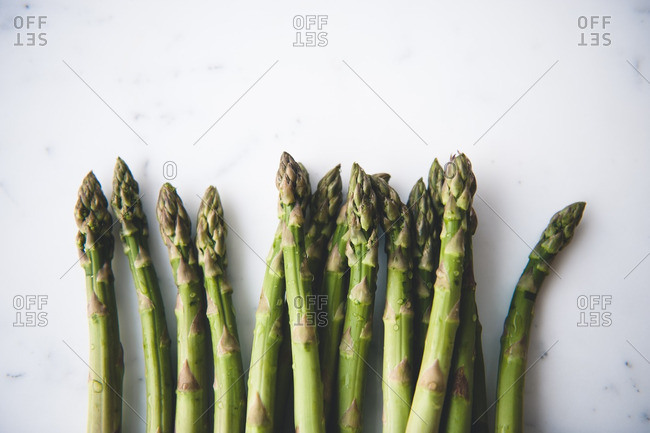 Close-up of many asparagus stalks