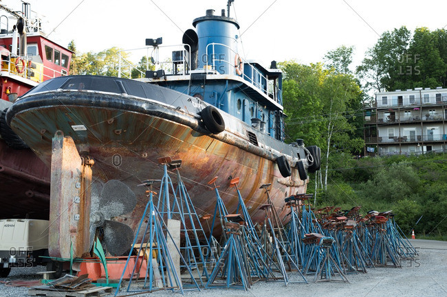 A tugboat on the coast