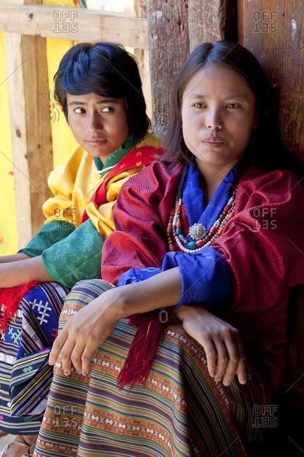 Bhutan - October 5, 2011: People backstage at festival, Bhutan