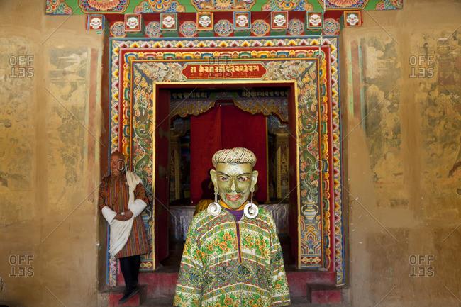 Phobjikha Valley, Bhutan - October 10, 2011: Masked dancer at festival in Bhutan