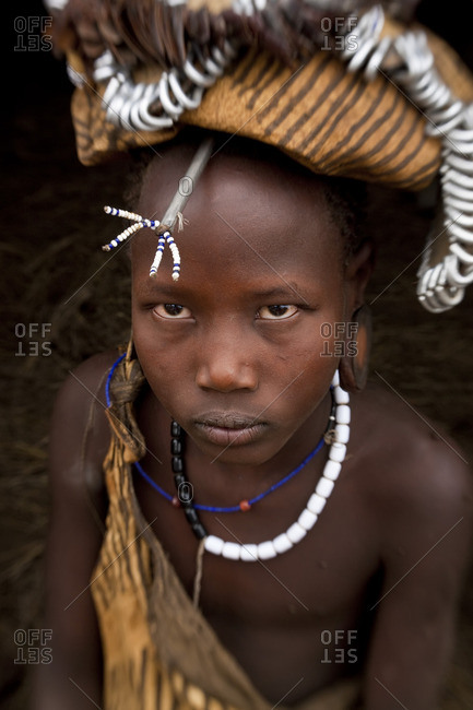 Omo Valley, Ethiopia - January 23, 2009: Mursi girl, Omo Valley, Ethiopia