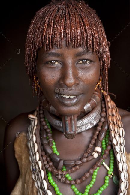 Omo Valley, Ethiopia - January 24, 2009: Portrait of a Hamer woman, Ethiopia