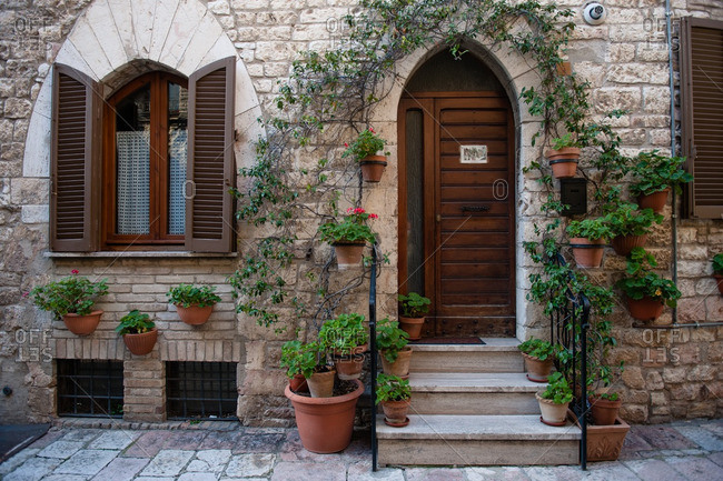 Assisi, Italy - January 16, 2016: Front steps of a house