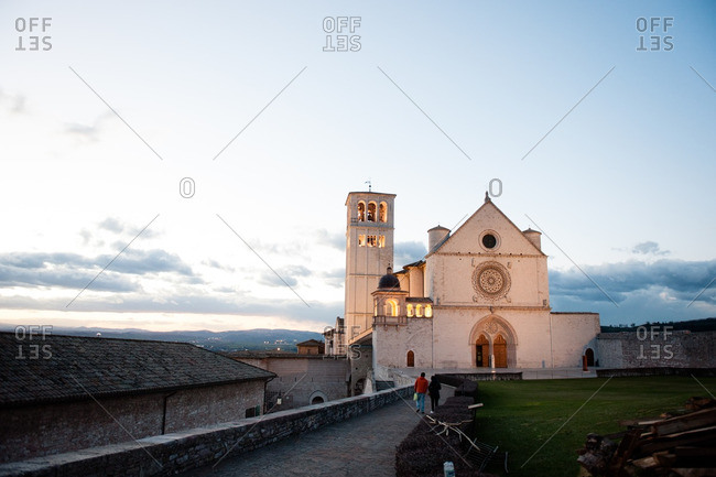 Basilica of San Francesco d'Assisi in evening