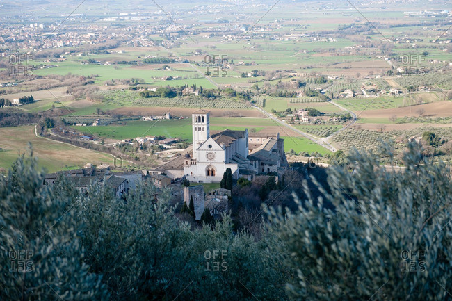 View of Basilica of San Francesco d'Assisi from hill above