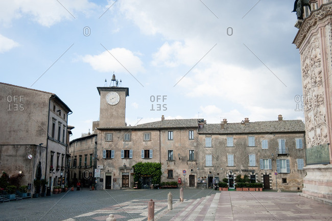 Orvieto, Italy - January 17, 2016: Clock tower in the main square