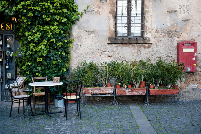 Orvieto, Italy - January 17, 2016: Empty cafe scene