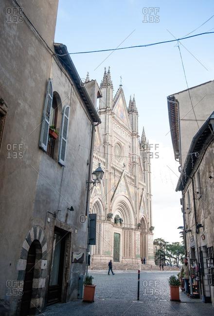 Orvieto, Italy - January 17, 2016: View of Duomo of Orvieto from street