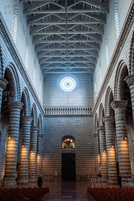 Orvieto, Italy - January 17, 2016: Nave of the Duomo of Orvieto