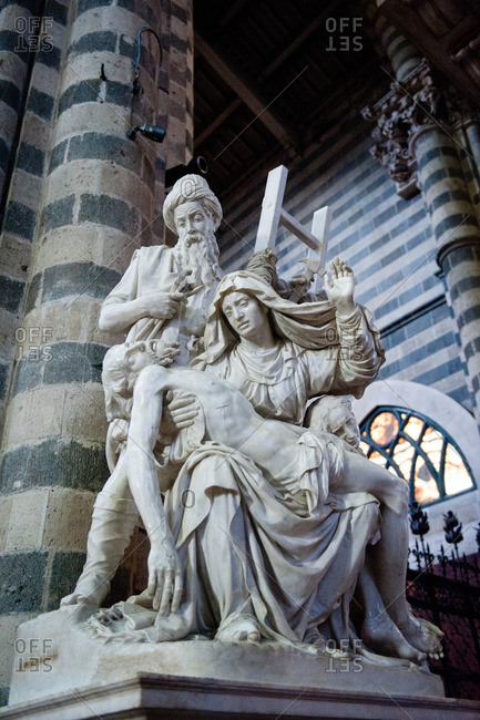 Orvieto, Italy - January 17, 2016: Statue of the Pieta inside the Duomo of Orvieto