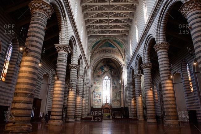 Orvieto, Italy - January 17, 2016: Interior of Duomo of Orvieto