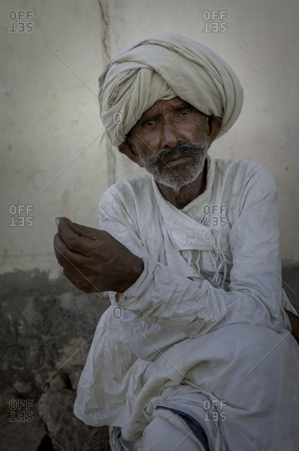 Gujarat, India - May 6, 2016: Man in India in traditional clothing