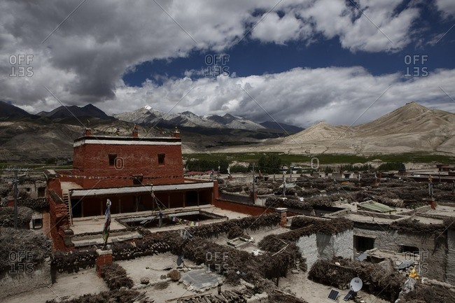 Bird's eye view of houses in the village of Lo Manthang, Mustang, Nepal